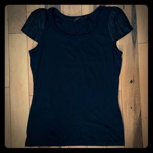 👁 Black Pleated Satin Sleeve Tee Shirt Pintuck S
